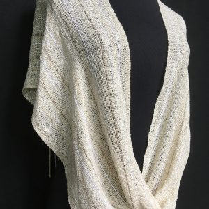 handwoven ivory twisted poncho, handwoven infinity scarf