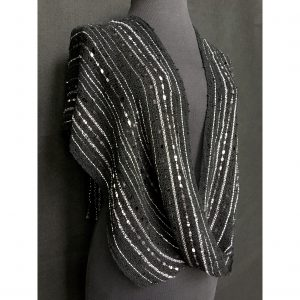 black and silver handwoven twisted poncho