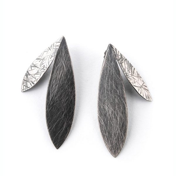 large oxidized silver earrings with 2 large feathers