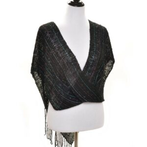 black handwoven swoop shawl