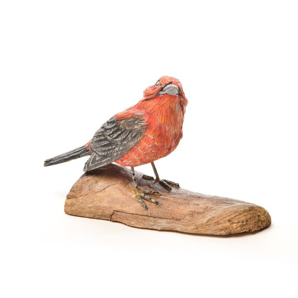 hand carved and hand painted wooden scarlet tanager, virginia hand carver