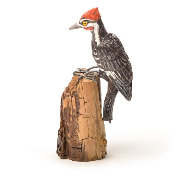 hand carved and hand painted wooden Pileated woodpecker, virginia hand carver