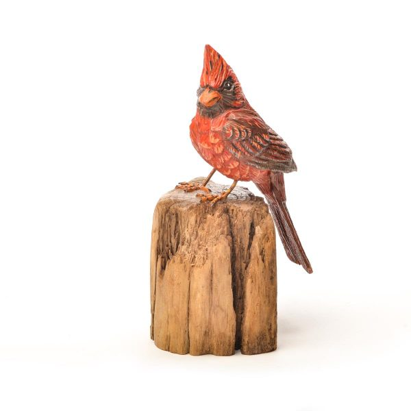 hand painted and hand carved wooden cardinal,
