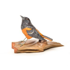 hand carved and hand painted wooden baltimore oriole, virginia hand carver