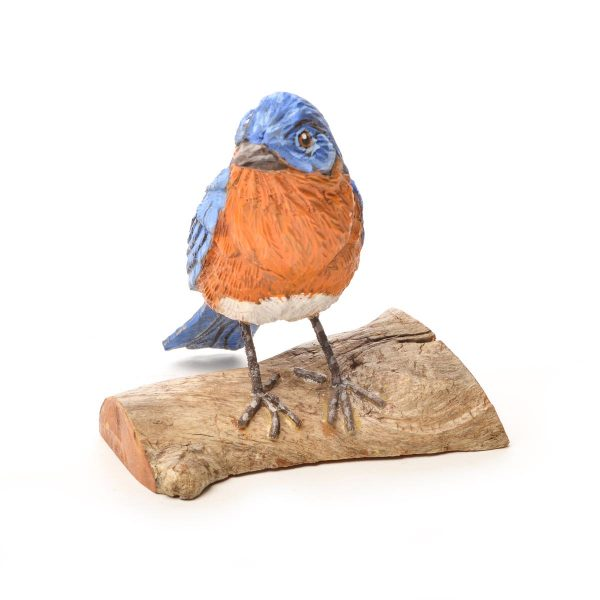 hand carved and hand painted bluebird, nc bluebird carving