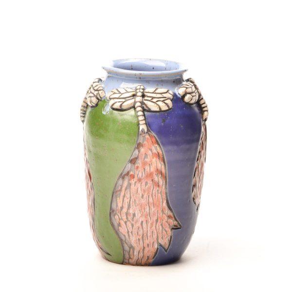 medium wheel thrown ceramic vase with dragonflies around the top