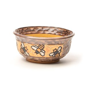 handmade ceramic carved bowl with bees