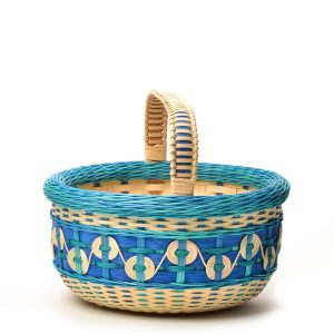 double walled handmade blue and natural basket