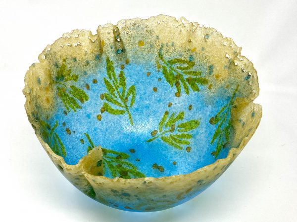 turquoise pate de verre bowl with oak leaf design