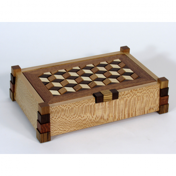 tumbling block handcrafted wooden jewelry box, tennessee woodworker, shaker wood design