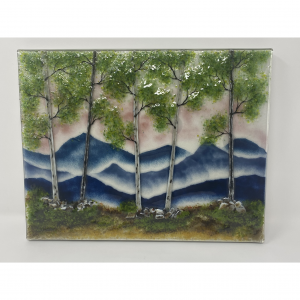 spring mountain landscape in fused glass