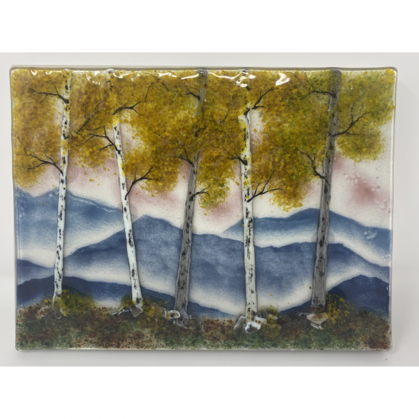 yellow leaves fall landscape in fused glass