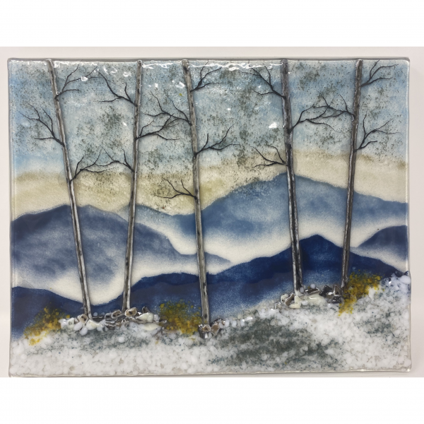 winter mountain landscape in fused glass for the wall
