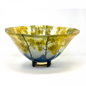 golden fall mountain landscape made in fused glass in a large bowl, mountain home centerpiece