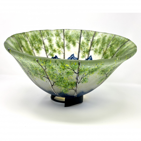 large fused glass mountain spring landscape formed into a large bowl, mountain home centerpiece