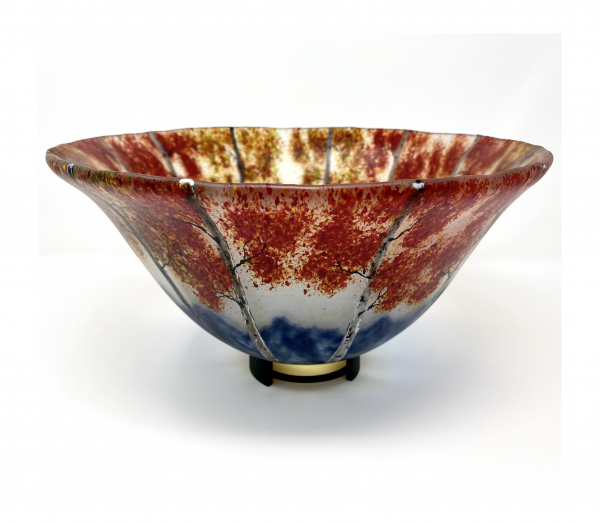 red leaf fall mountain landscape in glass fused bowl