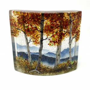 small glass landscape of fall mountains in fused glass