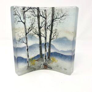 fused glass winter landscape, tabletop glass sculpture with a winter mountain scene