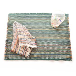 handwoven cotton green placemat with white handmade napkin