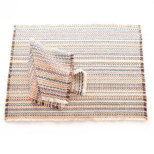 white multicolored handwoven cotton napkins and placemats