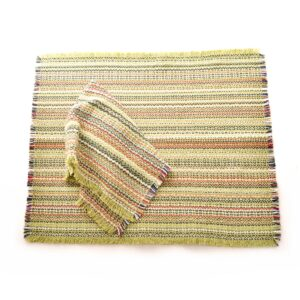 apple green handwoven multicolored napkins and placemats