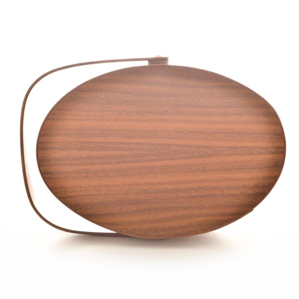 top view of walnut shaker swing handle box