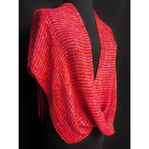 red handwoven cotton infinity shawl