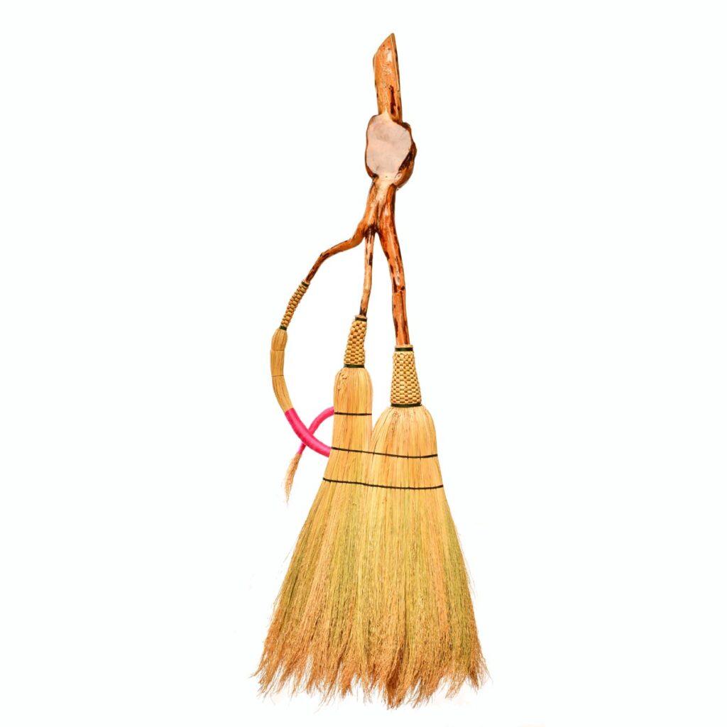 back side of breast cancer ribbon broom, artistic broom, nc broommaker