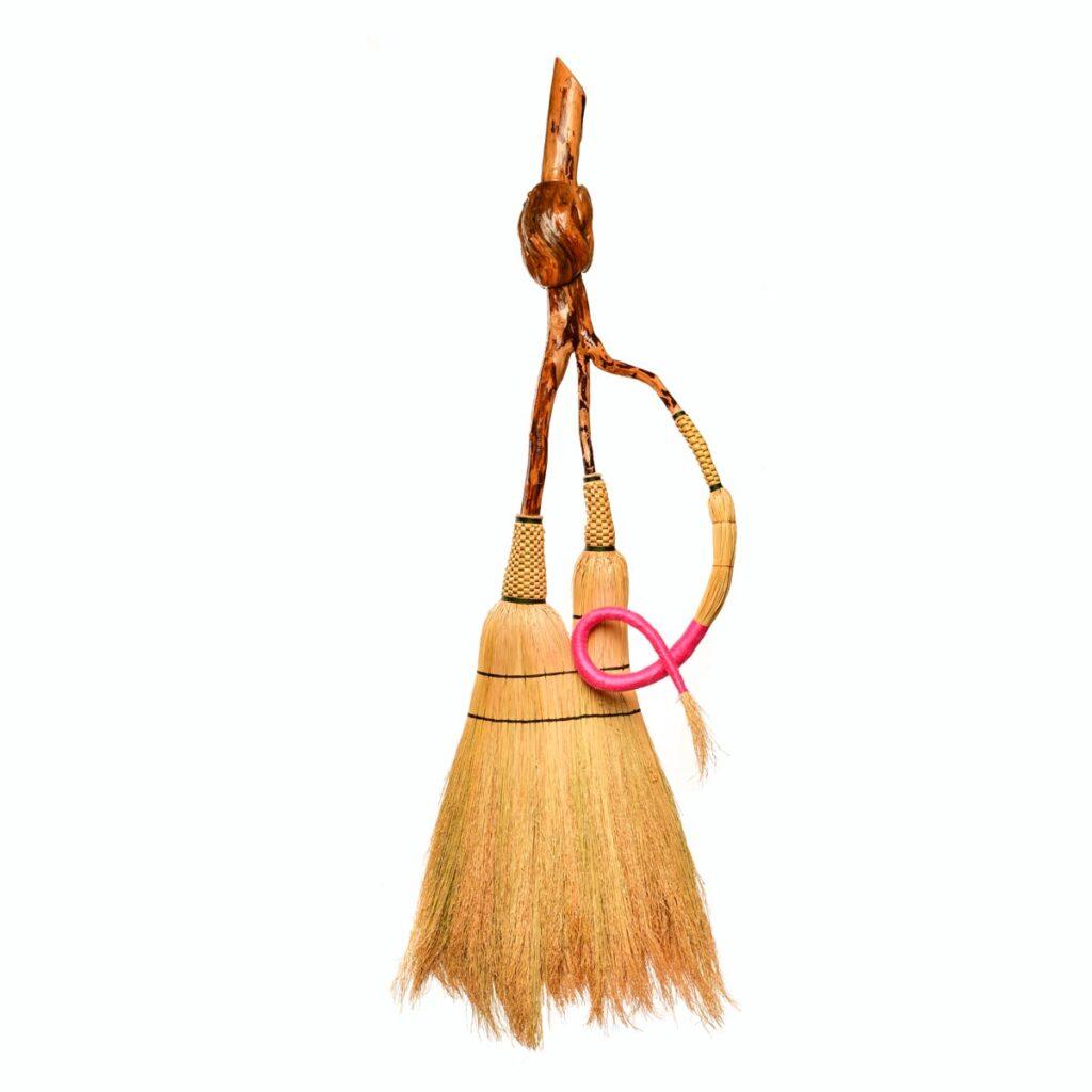 breast cancer awareness broom, artistic broom, mountain home decor