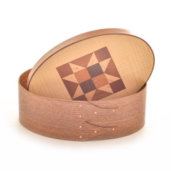 walnut shaker box with quilt pattern lid