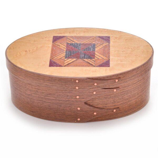 walnut shaker box with quilt pattern lid, barbara frietchie star pattern box
