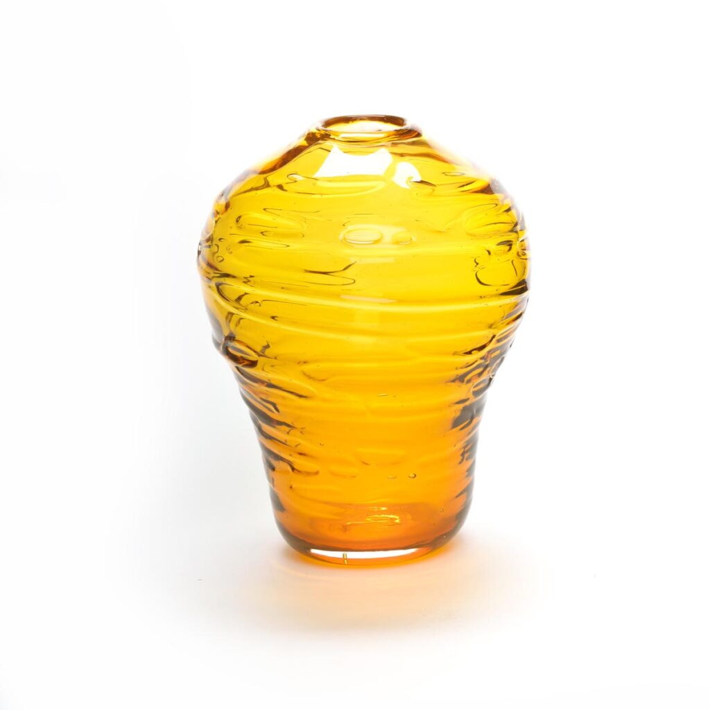 amber glass handmade vase, yellow handmade glass vase with spirals around it