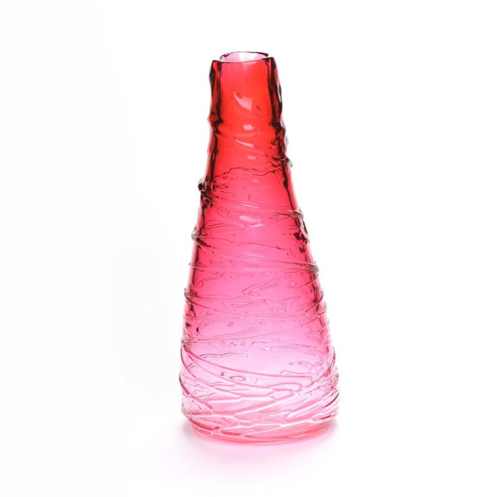 pink blown glass handmade cone vase