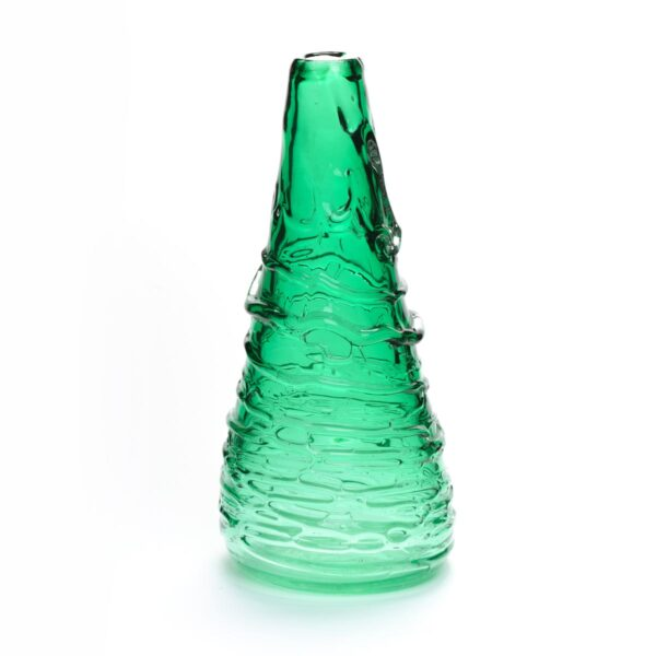 bright green blown glass vase, asheville glass blowing