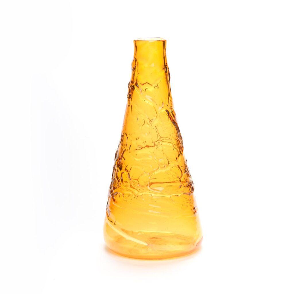 yellow blown glass cone vase, asheville glass blowing, Weaverville glass artist