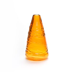 amber colored blown glass cone shaped vase