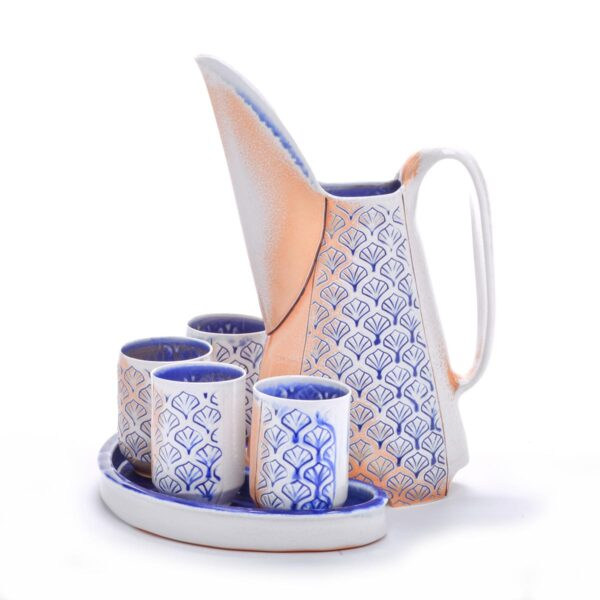 handmade wheel thrown ceramic soda fired sangria set, pitcher and cup set made of porcelain with cobalt stamps