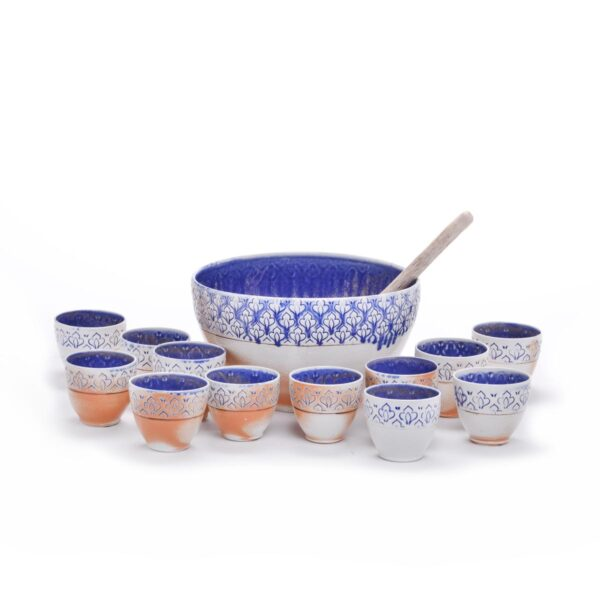 handmade wheel thrown ceramic punch set, punch set with cups a bowl and ladel