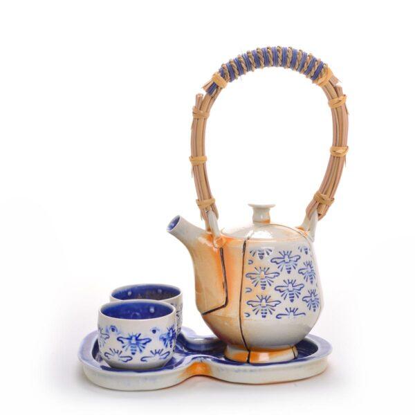 stamped porcelain teapot set with cobalt stamped design