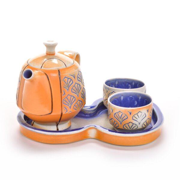 teapot set with stamped cobalt blue design