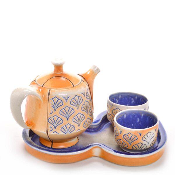 teapot set with stamped cobalt blue design, teapot tray and 2 tea bowls, nc potter