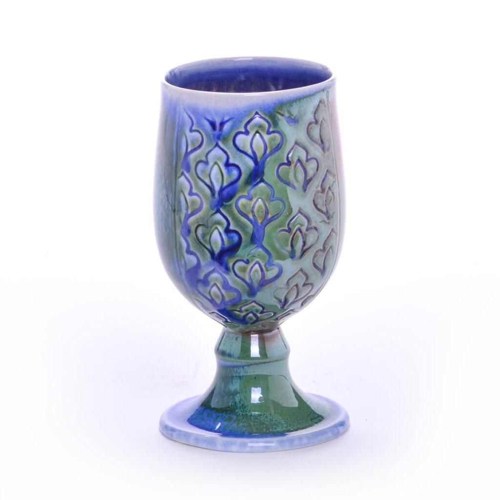 green stamped soda fired handmade goblet, handmade goblet, nc potter