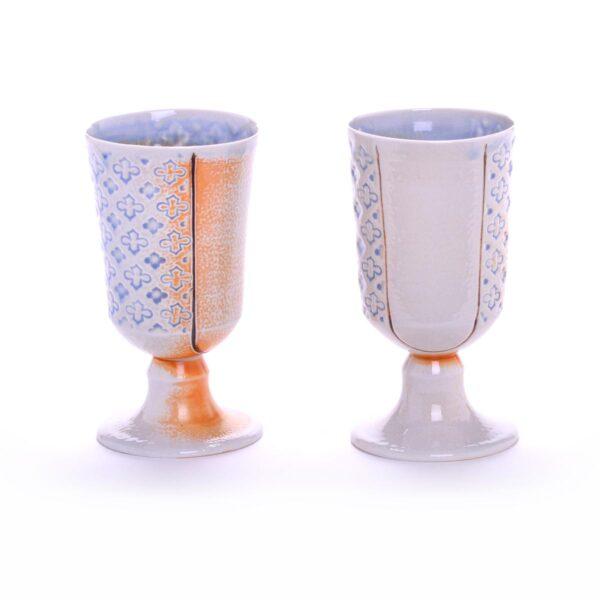 wheel thrown porcelain stamped goblet