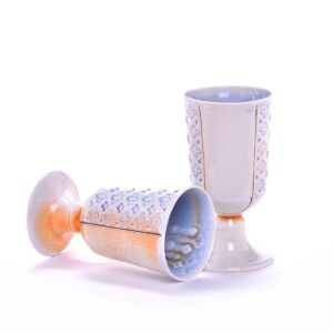 wheel thrown and stamped porcelain handmade goblet, soda fired porcelain goblet