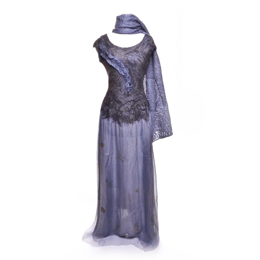 purple handmade wool nuno felted dress