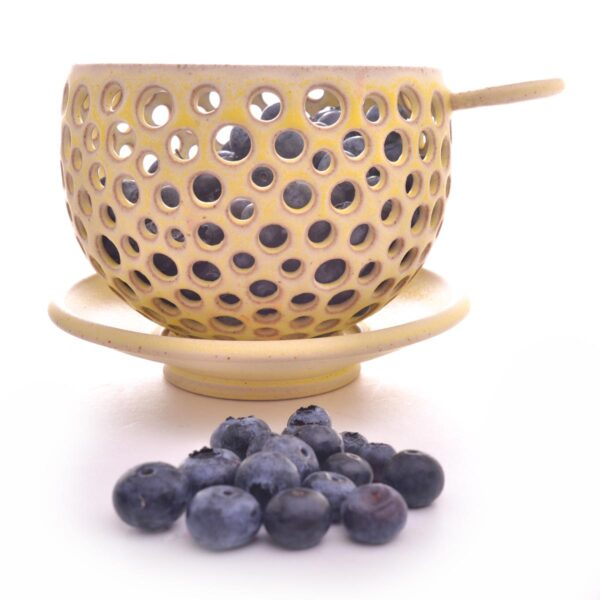 yellow ceramic berry bowl