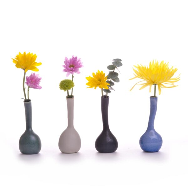 set of small mini ceramic vases, handmade ceramic bud vase