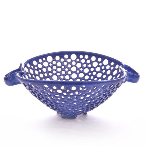 cobalt blue handmade wheel thrown ceramic colandar
