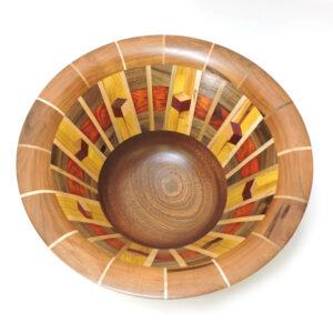 segmented wood turned bowl, nc woodworker