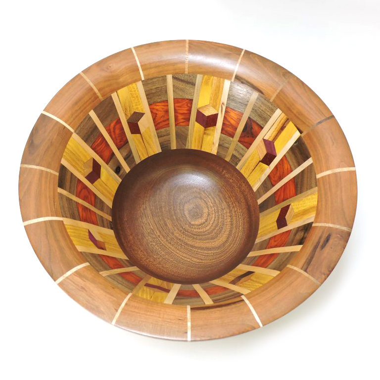 segmented wood turned bowl, nc woodworker